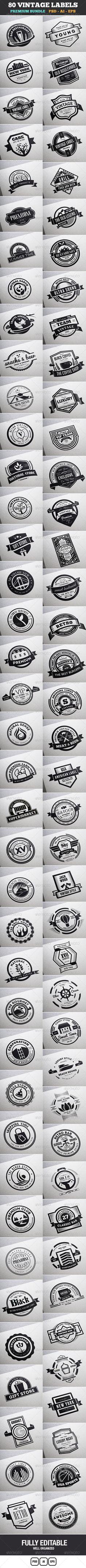 80 Vintage Labels & Badges Logos Bundle - Badges & Stickers Web Elements