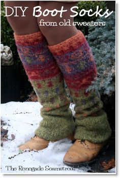 Up cycled, No Sew Leg Warmers and Tote From an Old Thrift Store Sweater