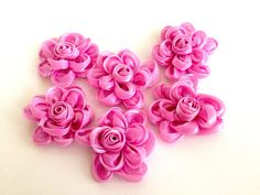 6 pieces sugar pink organza organza flowers by bidesign on Etsy, $12.00