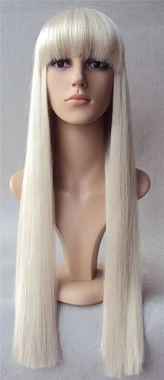 DELUXE LADY GAGA, 70'S EXTRA LONG STRAIGHT BLONDE BLUNT FRINGE FASHION WIG-in Synthetic Wigs from Beauty & Health on Aliexpress.com | Alibaba Group