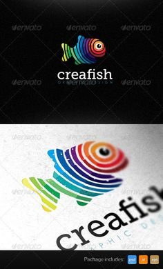 bb8ee43b905 Creative Fish Graphic Design Studio Bright Logo Template is hip    outstanding sign