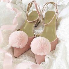 2 X Mink Fur Pom Pom Shoe Clip Buckle Furry Fluffy Diamante Pearl Decor DIY Pink