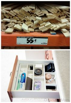 Fashion inexpensive drawer dividers.... Great way to keep drawers organized!