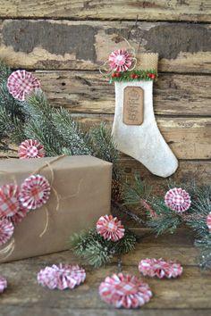 White Burlap Christmas Stocking Ornament