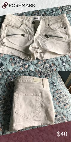 Paige white jean shorts Great pair of short white jean shorts. Paige Jeans Shorts Jean Shorts