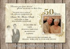 Photo Personalised 50th, 60th, 25th Wedding Anniversary Invitations - You Print by deezeedesign on Etsy https://www.etsy.com/listing/119655037/photo-personalised-50th-60th-25th