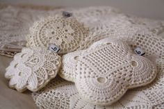 vintage crochet and lace on felt, filled with lavender