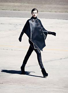 Tali Lennox for S Moda - Always love a leather cape - pants too… Both Loewe