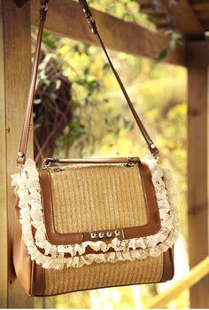 Vineyard Romance Woven Straw Lace Handbag $67.99