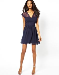 Enlarge Elise Ryan Lace Skater Dress with Scallop Back