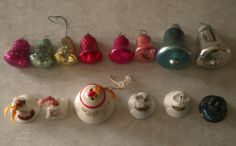 Tiny bells were so pretty on the old feather trees.  Vintage Christmas Bell Ornaments Mercury Glass Shiny Brite, pimpled glass, metal with decals and painted porcelain