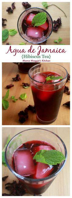 Agua de Jamaica, or Hibiscus Tea, is a refreshing Mexican drink. Sweet, tart, and SO delicious. #aguafresca #jamaica #aguadejamaica #mexicanfood