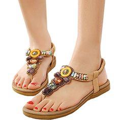 Oasap Women's Boho Rhinestones Embellishment Y-Strap Thong Sandals For Women - [UK & IRELAND]