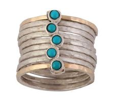 stack ring , silver ring and gold , ring for woman , blue turquoises rings #Bluenoemi #stackingrings