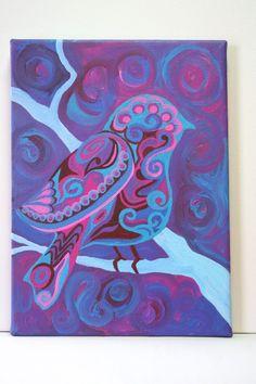 bohemian bird original acrylic painting by sweetvioletstudio, $65.00 I love this!!