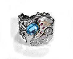 Steampunk Jewelry Ring Vintage LONGINES Ruby Jewel Watch Mechanism Mens Womens Ring Aqua Swarovski LUXURY Gift - Steampunk by edmdesigns