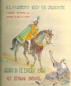 """Cartell il·lustrat per la bibliotecària Natàlia Hernàndez, per informar de l'hora del conte destinada al dia 18 de gener de 1958 en la biblioteca Pare Miquel d'Esplugues. El títol de la narració fou: """"El cuarto rey de oriente""""."""