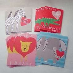 Animal Valentines - Destash Kid's Valentines - Upcycled Cards Unused - 4 Styles - Total of 20 Single Cards - Blank on Reverse Valentines For Kids, Happy Valentines Day, Valentines Day Greetings, Zebras, Blank Cards, Animal Drawings, Upcycle, Elephant, Etsy Shop