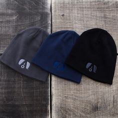 Airstream Live Riveted fleece beanie hat with embroidered logo. Available in Dark Grey with Blue logo and Light Grey with Black logo. 100% organic cotton.