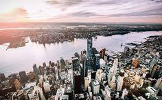 壁紙をダウンロードする ニューヨーク, 世界貿易センター1, 夕日, 高層ビル群, 事業センター, マンハッタン, 米国