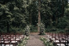 Wedding Venues Outdoor wedding ceremony decor idea - lush, wooden ceremony decor {Chrissy Cassano Photography} - Planning the ultimate dreamy celebration? Get inspired with these enchanting woodland wedding ideas. Redwood Forest Wedding, Forest Wedding Venue, Wedding Venues Oregon, Best Wedding Venues, Wedding In The Woods, Woodland Wedding, Dream Wedding, Wedding Destinations, Wedding Set
