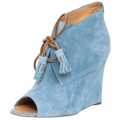 Pre-owned Dsquared2 Suede Peep-toe Luxury Designer Booties Size Us 6/... ($257) ❤ liked on Polyvore featuring shoes, boots, blue, blue suede boots, peep toe bootie, lace up wedge boots, short suede boots and ankle boots
