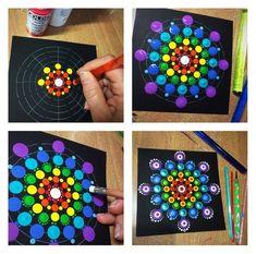 Dot Painting Mandala Kit , 9 dot painting tools, stencil, guide and more - Art - Chalk Art Mandala Art, Mandala Stencils, Mandala Painting, Mandala Drawing, Mandala Design, Mandala Pattern, Dot Painting Tools, Dot Art Painting, Painting Patterns