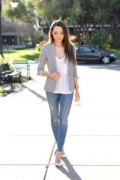 Greg blazer, white tee, skinny jeans and silver metallic heels