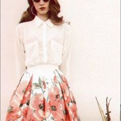 White shirt and long floral skirt, LDR inspired White lightweight sheer button up shirt, wear it plain , or over a tank, same as the H&m one Lana Del Rey wore in photo shoot, Bundled with beautiful floral long asymmetrical skirt & designer from boutique Skirts Maxi