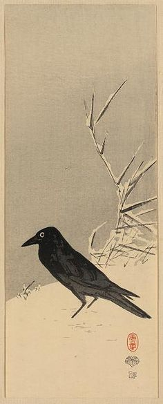 Title: Secchū ashi ni karasu  Title Translation: Blackbird near reeds in snow.  Creator: Bessho, Eigon, 1814-1900 Date Published: Between 1890 and 1920. Medium: 1 print : woodcut, color.