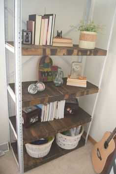 Storage Shelf Turned Rustic Bookshelf