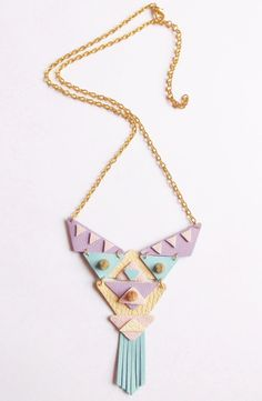 Aztec Pastel necklace Candy necklace Tribal Statement necklace Geo Geometric necklace. Lilac Pink Peach Cream Blue Triangle Leathers Tassels on Etsy, 216,76 kr