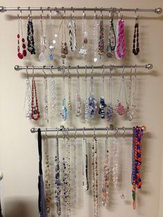 Homemade necklace holder & 11 DIY Necklace Storage Ideas | Necklace storage Diy necklace and ...