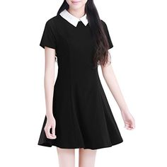 Allegra K Women Doll Collar Short Sleeves Flare Dress ** Click on the image for additional details.