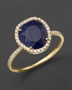 Meira T blue sapphire ring with diamonds