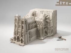 Cite de l'Architecture – Fubiz™ - CGI of Basilique Cathédrale Notre-Dame d'Amiens (or simply Amiens Cathedral) in the same block of stone. Creative Advertising, Advertising Poster, Advertising Agency, Creative Photos, Creative Art, Creative Design, Museum Paris, Guggenheim Bilbao, Ad Of The World