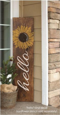 Small four-panel hand lettered Square Wood Sign