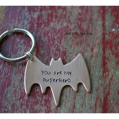 hand stamped superhero copper batman keychain ($16) found on Polyvore