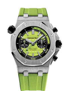 """Audemars Piguet AP - A bold lime green Royal Oak Offshore, blending exceptional craftsmanship and fun design. The dial features the traditional """"Mega Tapisserie"""" pattern with double hour-markers at 12 o'clock and luminescent coating for better visibility deep under water. The rubber strap, coordinated with the color of the dial, ensures a perfect fit on the wrist. @AudemarsPiguet Pin by @ArgyleXclusive #AudemarsPiguet #LuxuryWatch #Luxury #Watch #MensWatch #Chronograph #Mens #Fashion #Style"""