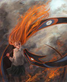 hello, fire head girl by bigbigtruck.deviantart.com on @deviantART