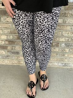 07f2fc63161fa0 Snow Leopard Leggings – Ambrie Leopard Leggings, Snow Leopard, Capri Pants,  Capri Trousers