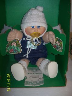 Vintage 1983 CABBAGE PATCH KIDS BOY PREEMIE DOLL PACIFIER ,HAT, PAPERS IN BOX 1980s Childhood, My Childhood Memories, Baby Doll Nursery, Baby Dolls, 80s Girl Toys, Cabbage Patch Kids Boy, Vintage Cabbage Patch Dolls, Asian History, British History