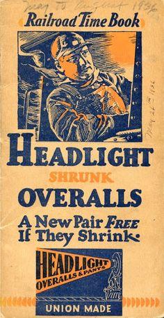 Headlight Overalls Railroad Time Book (Cover), 1930-1931