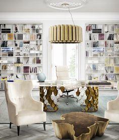 AURUM Suspension Light, KOI Dining Table, IGUAZU Armchair and SEQUOIA Center Table by @brabbu   Office Design. Interior Design Inspiration. #interiordesign #officedecor #homedecor Discover the collection: https://www.brabbu.com/en/all-products.php