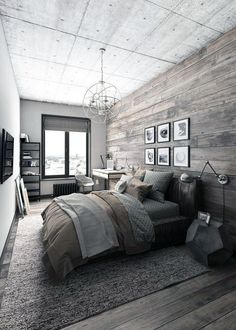 Rustic Master Bedroom Inspiration Ideas This is a bold master bedroom that focuses on modern decor but focuses on keeping a rustic theme of colors. The post Rustic Master Bedroom Inspiration Ideas appeared first on Design Diy. Rustic Bedroom Design, Farmhouse Master Bedroom, Master Bedroom Design, Home Decor Bedroom, Bedroom Designs, Bedroom Modern, Dream Bedroom, Diy Bedroom, Wooden Wall Bedroom