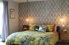 """Try Metallics      """"Use metallic paint with a stencil to create a wallpaper effect without the commitment,"""" designer Karen Vidal says. """"Choose an interesting visual pattern and the metallic paint will catch the light beautifully."""" Who doesn't love a little sparkle? Plus, if you get bored, you can easily change the look."""