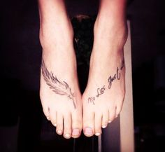 Feather Foot Tattoo Quote
