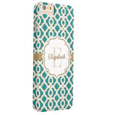 Monogram Teal and Gold Quatrefoil Barely There iPhone 6 Plus Case