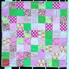 pink and green patchwork quilt, I love this color combination so much ... it appeals to the preppy pretty side
