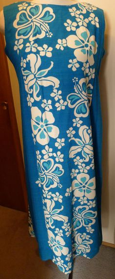 Sears Hawaiian MuuMuu Aloha Dress Blue Barkcloth Floral Design Size M/L 1960's   eBay
